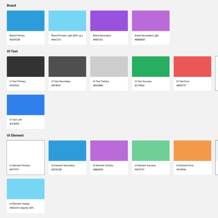 An excerpt of our design system elements.
